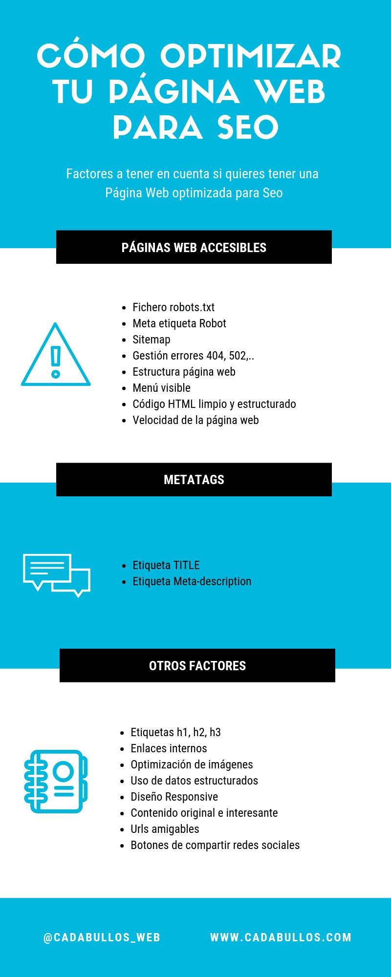 infografía - Qué es una y como optimizar una página web para seo